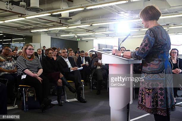 Labour's London mayoral candidate Sadiq Khan is introduced by Shadow Minister for the Cabinet Office Tessa Jowell as he launches his manifesto at...