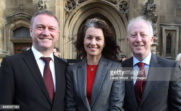 Labour's new MPs Steve Reed Sarah Champion and Andy McDonald arrive at the House of Commons after winning their respective byelections