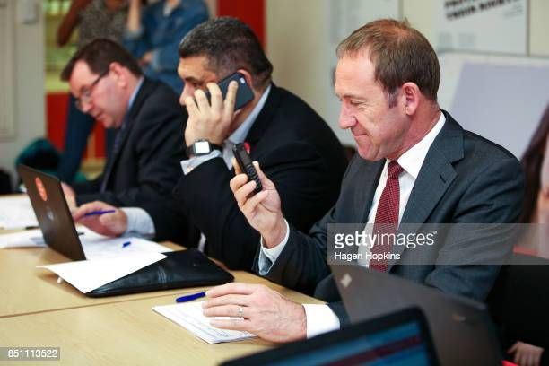 Labour's Rongotai candidate Paul Eagle makes campaign calls with MPs Grant Robertson and Andrew Little at his phone bank on September 21 2017 in...