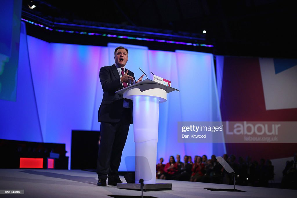 Labour's Shadow Chancellor <a gi-track='captionPersonalityLinkClicked' href=/galleries/search?phrase=Ed+Balls&family=editorial&specificpeople=3244683 ng-click='$event.stopPropagation()'>Ed Balls</a> delivers his keynote speech to delegates at the Labour Party Conference at Manchester Central on October 1, 2012 in Manchester, England. Labour shadow chancellor <a gi-track='captionPersonalityLinkClicked' href=/galleries/search?phrase=Ed+Balls&family=editorial&specificpeople=3244683 ng-click='$event.stopPropagation()'>Ed Balls</a> unveiled his plans to stimulate the economy, using a GBP 3bn windfall from the sale of 4G mobile phone frequencies to build 100,000 affordable homes and give stamp duty breaks to first time buyers.