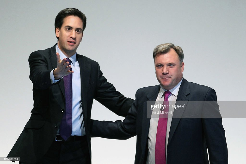 Labour's Shadow Chancellor <a gi-track='captionPersonalityLinkClicked' href=/galleries/search?phrase=Ed+Balls&family=editorial&specificpeople=3244683 ng-click='$event.stopPropagation()'>Ed Balls</a>, reacts on stage with <a gi-track='captionPersonalityLinkClicked' href=/galleries/search?phrase=Ed+Miliband&family=editorial&specificpeople=4376337 ng-click='$event.stopPropagation()'>Ed Miliband</a> leader of the Labour Party after addressing the Labour party conference at the Echo Arena on September 26, 2011 in Liverpool, England. Later shadow chancellor <a gi-track='captionPersonalityLinkClicked' href=/galleries/search?phrase=Ed+Balls&family=editorial&specificpeople=3244683 ng-click='$event.stopPropagation()'>Ed Balls</a> will give a keynote speech to delegates and will announce a five point plan to boost jobs and economy.