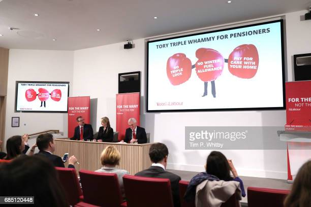 Labour's Shadow Chancellor John McDonnell and Rebecca LongBailey attend a press conference outlining the party's opposition to Conservative policy...