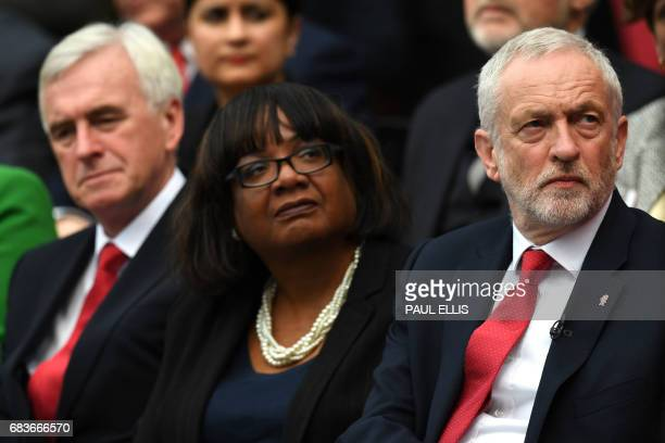 Labour's shadow Chancellor John McDonnell shadow Home secretary Diane Abbott and Labour party leader Jeremy Corbyn listens to speeches at the start...