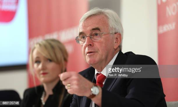 Labour's Shadow Chancellor John McDonnell talks at press conference outlining the party's opposition to Conservative policy which they say woud...
