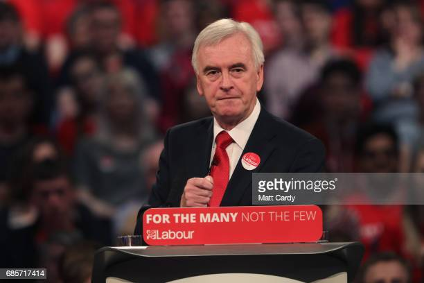 Labour's Shadow Chancellor of the Exchequer John McDonnell speaks at the International Convention Centre on May 20 2017 in Birmingham England Britain...