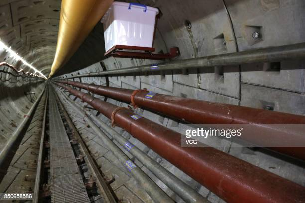 Labours work at a construction site of the Chinese section of the ChinaRussia East Route natural gas pipeline on September 20 2017 in Heihe China The...