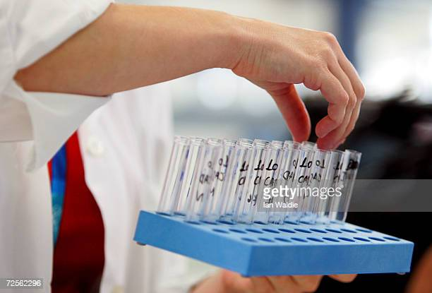 A labratory technician works at the Doping Control Laboratory of Athens during the final days before the start of the 2004 Olympic Games August 9...