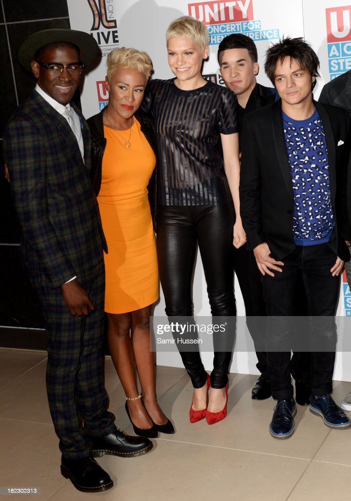 Labrinth, Emeli Sande, Jessie J, Jahmene Douglas, Jamie Cullum attend the Unity concert in memory of Stephen Lawrence at O2 Arena on September 29, 2013 in London, England.