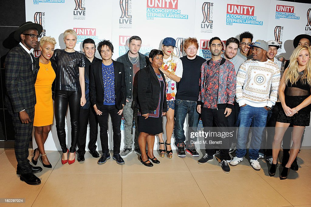 Labrinth, Emeli Sande, Jessie J, Jahmene Douglas, Jamie Cullum, Plan B, Doreen Lawrence, Rita Ora, Ed Sheeran, Amir Amor, Kesi Dryden, Jordan Stephens, DJ Locksmith, Piers Agget, Ellie Goulding and Harley Alexander-Sule attends 'Unity: A Concert For Stephen Lawrence' in aid of The Stephen Lawrence Charitable Trust at the O2 Arena on September 29, 2013 in London, England.