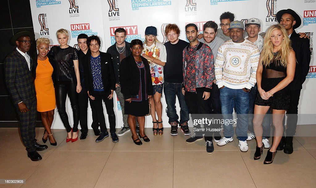 Labrinth, Emeli Sande, Jessie J, Jahmene Douglas, Jamie Cullum, Plan B, Baroness Doreen Lawrence, Rita Ora, Ed Sheeran, Amir Amor, Kesi Dryden,Jordan Stephens, DJ Locksmith, Piers Agget, Ellie Goulding and Harley Alexander-Sule attend the Unity concert in memory of Stephen Lawrence at O2 Arena on September 29, 2013 in London, England.