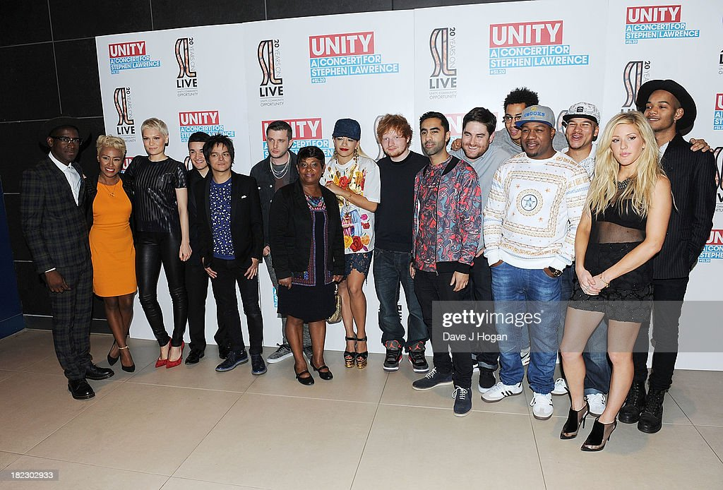 Labrinth, Emeli Sande, Jessie J, Jahmene Douglas, Jamie Cullum, Plan B, Doreen Lawrence, Rita Ora, Ed Sheeran, Amir Amor, Kesi Dryden, Jordan Stephens, DJ Locksmith, Piers Agget, Ellie Goulding, Harley Alexander-Sule pose in the green room at 'Unity: A Concert For Stephen Lawrence' in aid of The Stephen Lawrence Charitable Trust at the O2 Arena on September 29, 2013 in London, England.