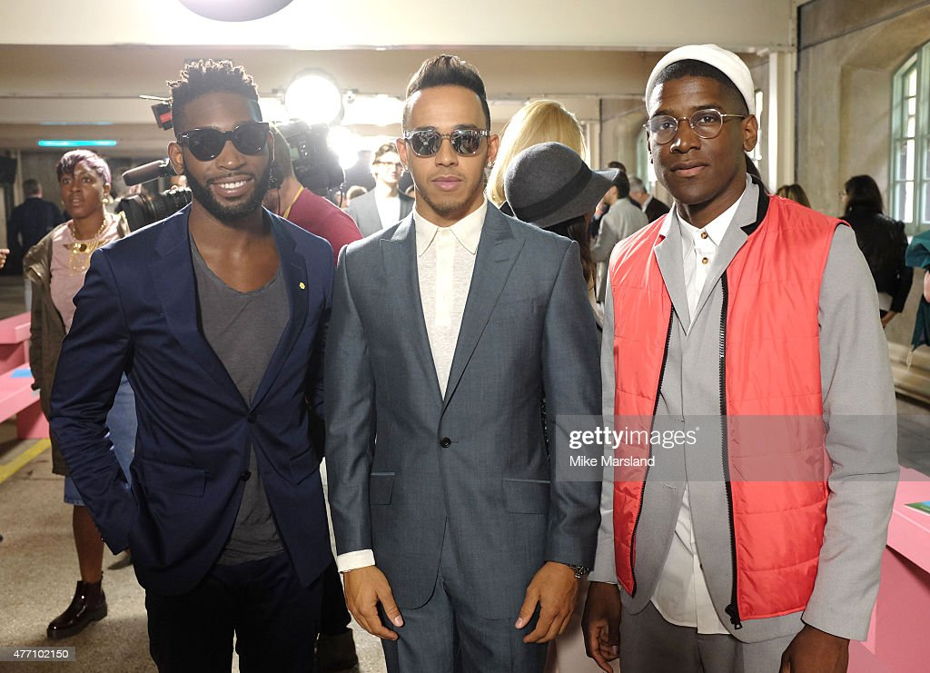 <a gi-track='captionPersonalityLinkClicked' href=/galleries/search?phrase=Labrinth+-+Musician&family=editorial&specificpeople=7211457 ng-click='$event.stopPropagation()'>Labrinth</a>, <a gi-track='captionPersonalityLinkClicked' href=/galleries/search?phrase=Tinie+Tempah&family=editorial&specificpeople=6742538 ng-click='$event.stopPropagation()'>Tinie Tempah</a> and <a gi-track='captionPersonalityLinkClicked' href=/galleries/search?phrase=Lewis+Hamilton+-+Racecar+Driver&family=editorial&specificpeople=586983 ng-click='$event.stopPropagation()'>Lewis Hamilton</a> attend the Richard James show during The London Collections Men SS16 on June 14, 2015 in London, England.