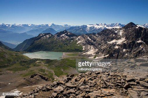 Lac de Salanfe from Haute Cime : Stock Photo