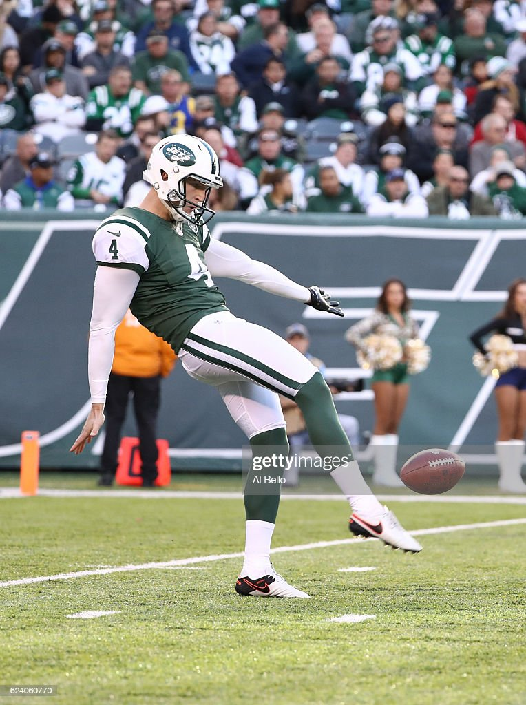 Lac Edwards #4 of the New York Jets in action against the Los Angeles Rams at MetLife Stadium on November 13, 2016 in East Rutherford, New Jersey.