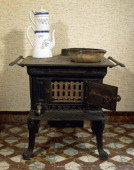 Lacanche stove consisting of an oven and hot water tank and uses wood and coal fuel 1930 France 20th century