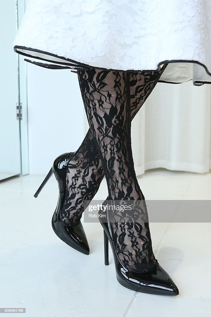 Lace stocking detail at Houghton presentation during Fall 2016 New York Fashion Week at Houghton Atelier on February 10, 2016 in New York City.
