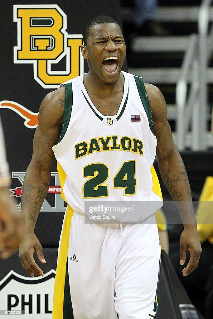 LaceDarius Dunn #24 of the Baylor Bears reacts in the second half while taking on the Texas Longhorns during the quarterfinals of the 2010 Phillips 66 Big 12 Men's Basketball Tournament at the Sprint Center on March 11, 2010 in Kansas City, Missouri.