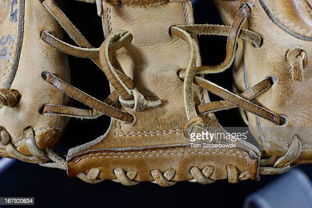 Laces hold together the leather pocket on the catcher's glove belonging to bullpen catcher Mark Salas of the Chicago White Sox who used it in his...