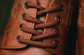 laces on leather shoes closeup