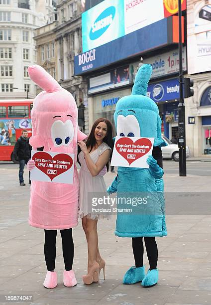 Lacey Banghard attends a photocall for PETA to encourage pet owners to have their cats and dogs sterilised at Picadilly Circus on January 22 2013 in...