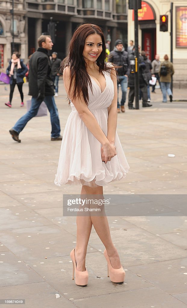 Lacey Banghard attends a photocall for PETA to encourage pet owners to have their cats and dogs sterilised at Picadilly Circus on January 22, 2013 in London, England.