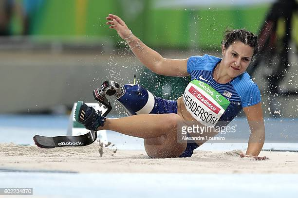 Lacey Henderson of United States competes in the Women's Long Jump T42 Final at Olympic Stadium during day 3 of the Rio 2016 Paralympic Games at on...