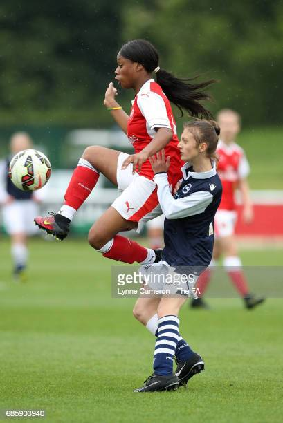 Lachance Paul of Arsenal Ladies and Tabby Flynn of Millwall Lionesses during the FA Girls' Youth Cup Final between Millwall Lionesses U16 Vs Arsenal...
