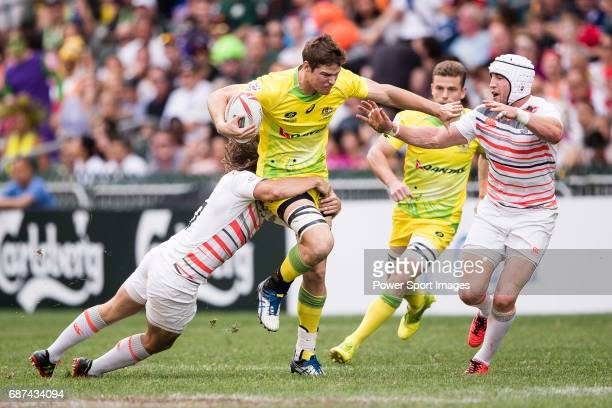 Lachie Anderson of Australia in action during the Pool A match between England vs Australia as part of the HSBC Hong Kong Rugby Sevens 2017 on 08...