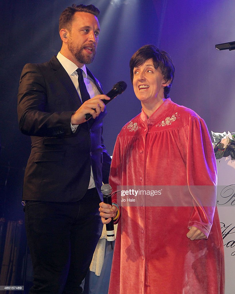 Lachie Chapman and Julie Hesmondhalgh perform with The Overtones at the Hayley Cropper Coronation Street Memorial at G-A-Y on January 25, 2014 in London, England.