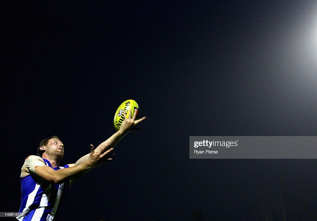 Lachie Hansen of the Kangaroos marks during the round two NAB Cup AFL match between the Sydney Swans and the North Melbourne Kangaroos at Bruce Purser Oval on March 3, 2012 in Sydney, Australia.