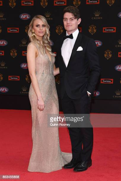 Lachie Neale of the Dockers and his partner Julie Clark arrives ahead of the 2017 Brownlow Medal at Crown Entertainment Complex on September 25 2017...
