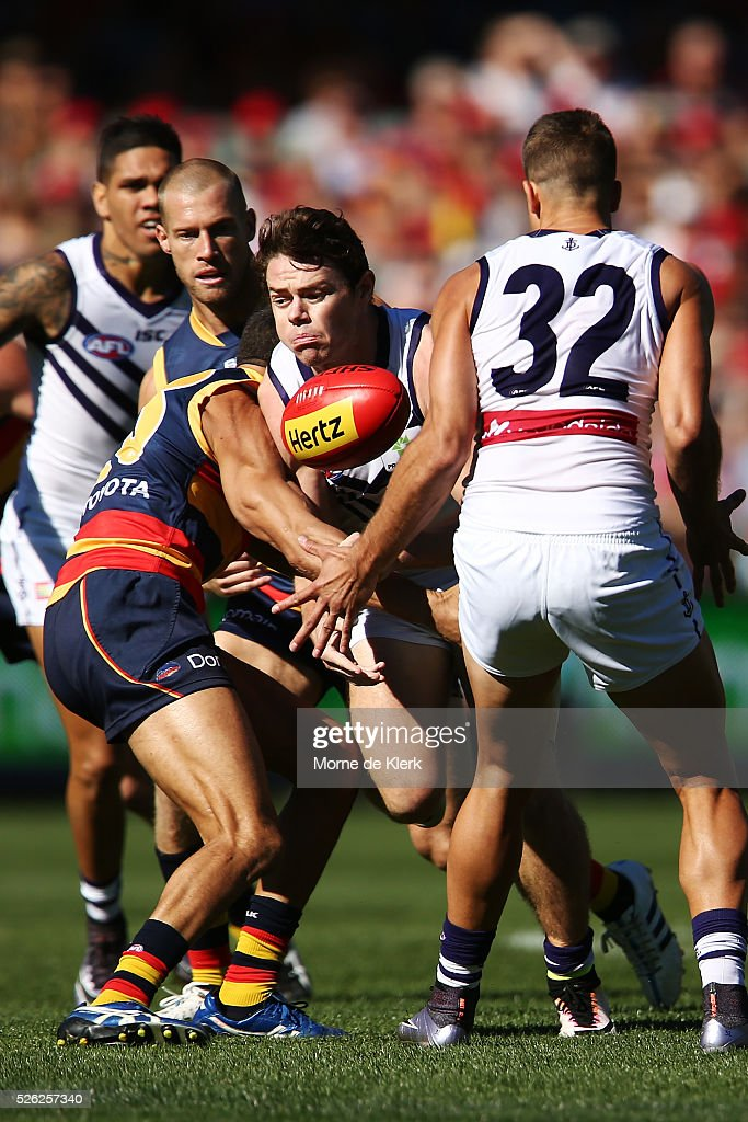 Lachie Neale of the Dockers is tackled during the round six AFL match between the Adelaide Crows and the Fremantle Dockers at Adelaide Oval on April 30, 2016 in Adelaide, Australia.