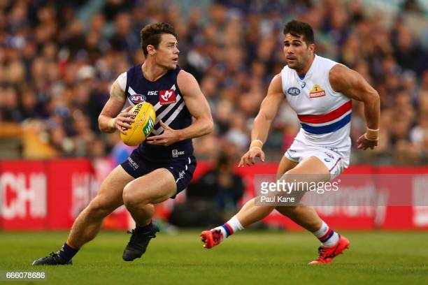 Lachie Neale of the Dockers looks to pass the ball during the round three AFL match between the Fremantle Dockers and the Western Bulldogs at Domain...