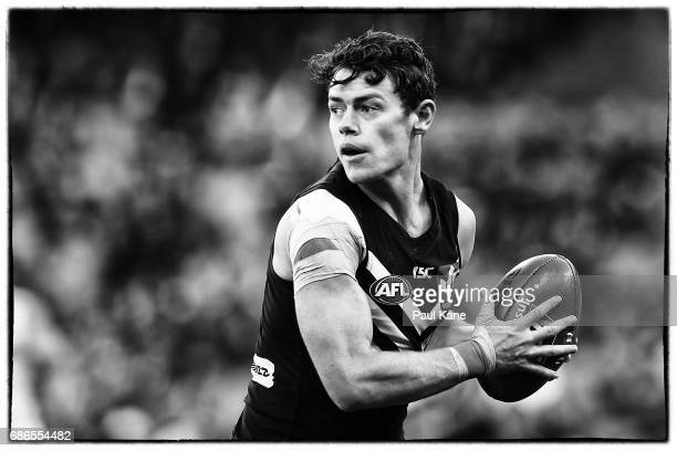 Lachie Neale of the Dockers looks to pass the ball during the round nine AFL match between the Fremantle Dockers and the Carlton Blues at Domain...