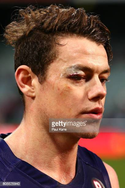 Lachie Neale of the Dockers walks from the field after being defeated during the round 15 AFL match between the Fremantle Dockers and the St Kilda...