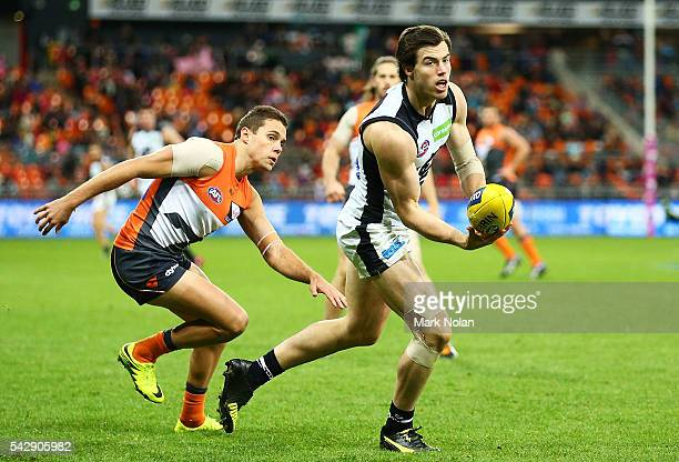 Lachie Plowman of Carlton in action during the round 14 AFL match between the Greater Western Sydney Giants and the Carlton Blues at Spotless Stadium...