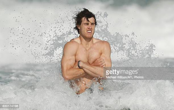 Lachie Plowman of the Blues looks on during a Carlton Blues AFL training session at Kurrawa Beach on December 18 2016 in Gold Coast Australia