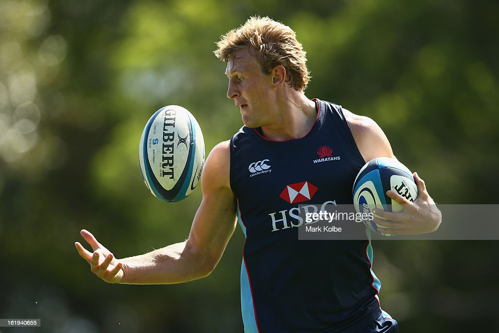 Lachie Turner juggles a pass during a Waratahs Super Rugby training session at Victoria Barracks on February 18, 2013 in Sydney, Australia.
