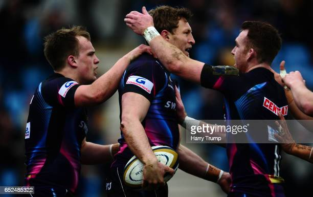 Lachie Turner of Exeter Chiefs celebrates his sides first try during the AngloWelsh Cup Semi Final match between Exeter Chiefs and Harlequins at...