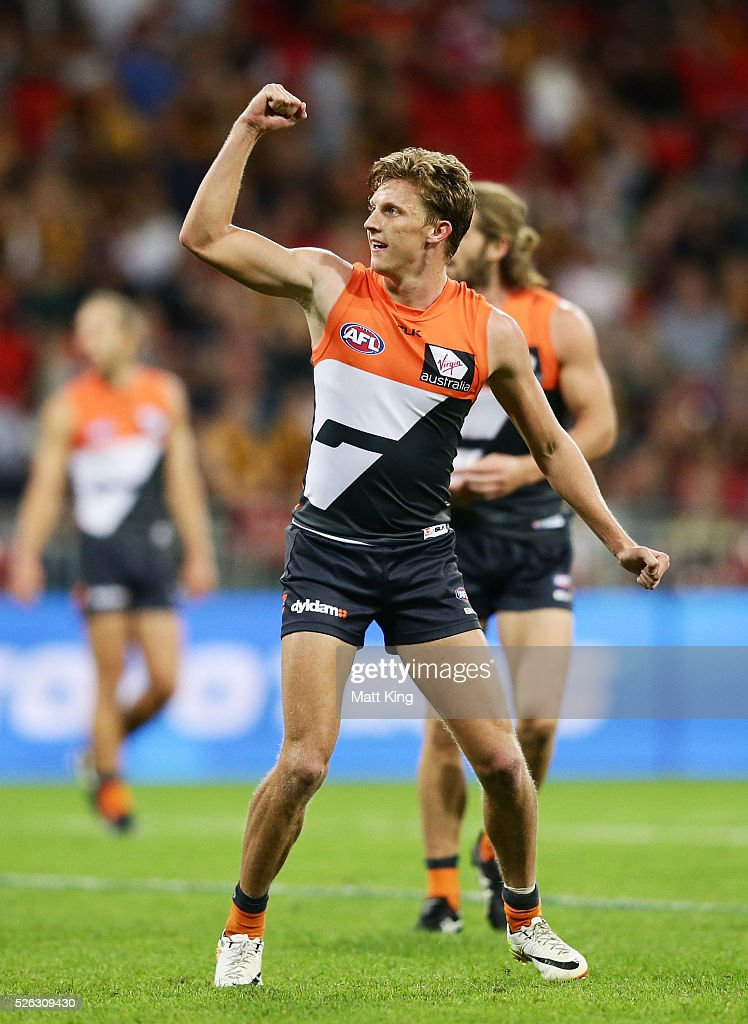 <a gi-track='captionPersonalityLinkClicked' href=/galleries/search?phrase=Lachie+Whitfield&family=editorial&specificpeople=7917185 ng-click='$event.stopPropagation()'>Lachie Whitfield</a> of the Giants celebrates a goal during the round six AFL match between the Greater Western Sydney Giants and the Hawthorn Hawks at Spotless Stadium on April 30, 2016 in Sydney, Australia.