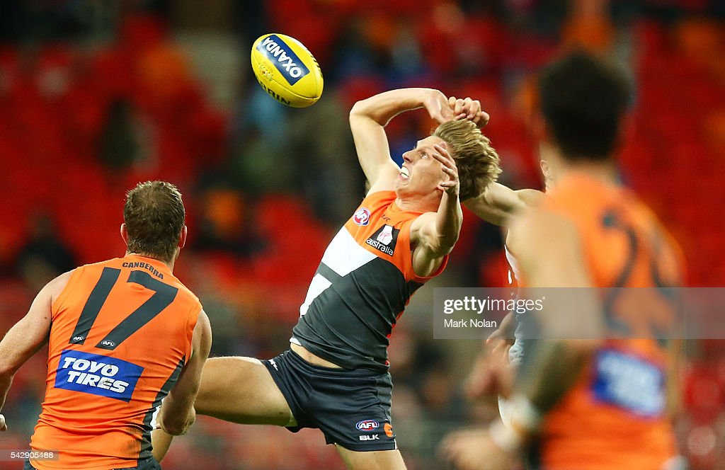 <a gi-track='captionPersonalityLinkClicked' href=/galleries/search?phrase=Lachie+Whitfield&family=editorial&specificpeople=7917185 ng-click='$event.stopPropagation()'>Lachie Whitfield</a> of the Giants in action during the round 14 AFL match between the Greater Western Sydney Giants and the Carlton Blues at Spotless Stadium on June 25, 2016 in Sydney, Australia.