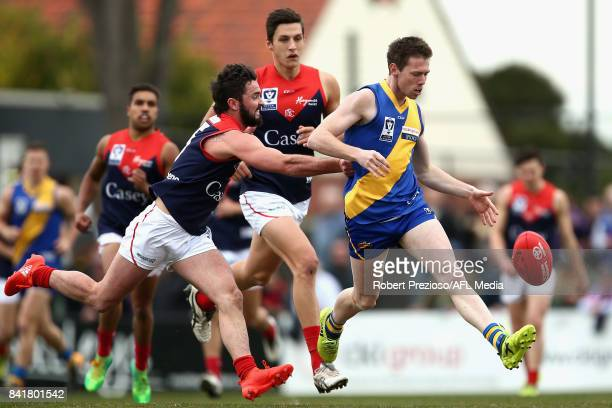 Lachlan Bramble of Williamstown kicks during the VFL Qualifying Final match between Williamstown and Casey at Burbank Oval on September 2 2017 in...
