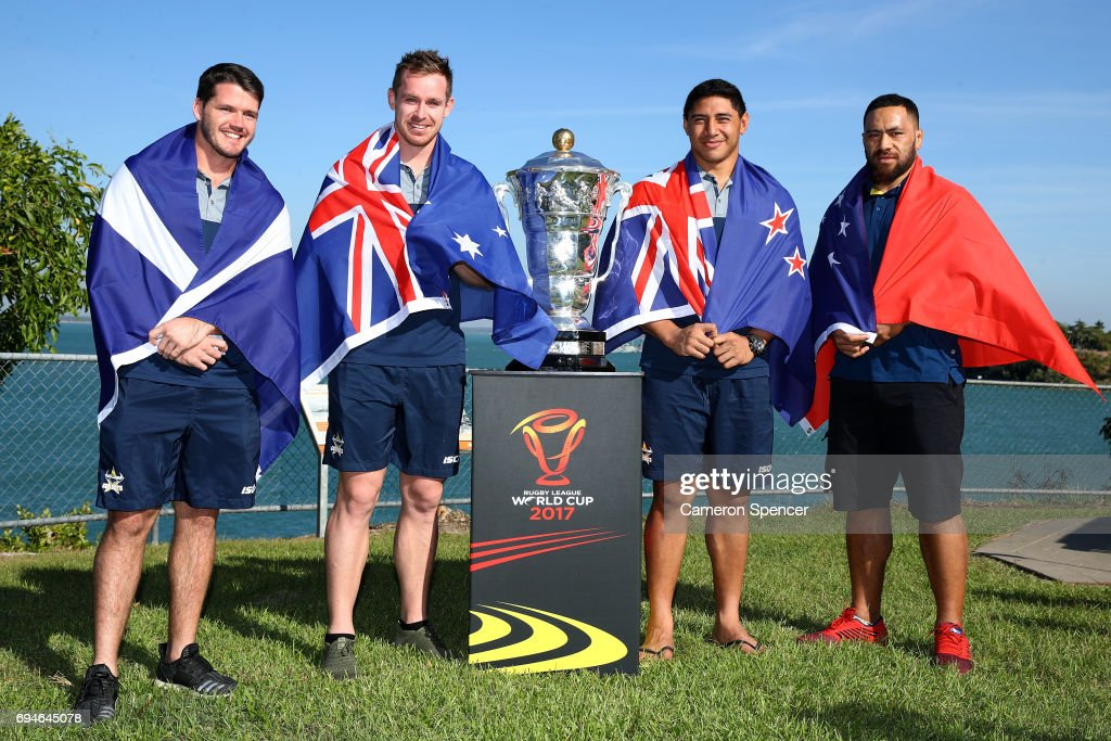 Lachlan Coote of Scotland, Michael Morgan of Australia, Jason Taumalolo of New Zealand and Suaia Matagi of Samoa pose with the Rugby League World Cup during a 2017 Rugby League World Cup Media Opportunity on June 11, 2017 in Darwin, Australia.
