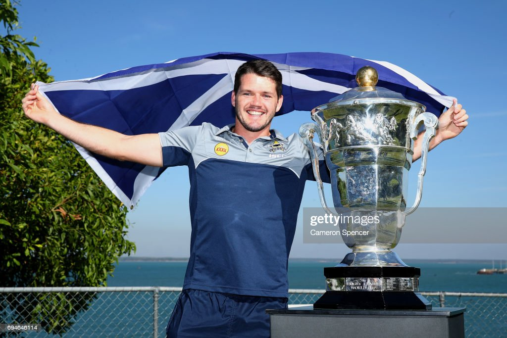 Lachlan Coote of Scotland poses with the Rugby League World Cup during a 2017 Rugby League World Cup Media Opportunity on June 11, 2017 in Darwin, Australia.
