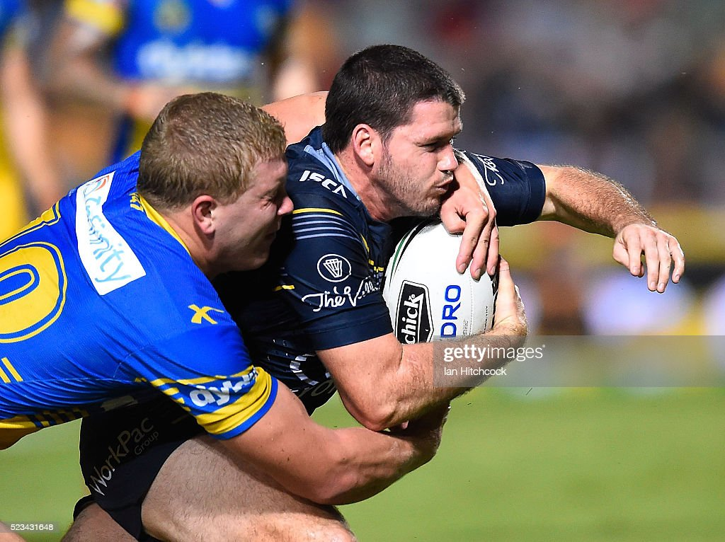 Lachlan Coote of the Cowboys scores a try during the round eight NRL match between the North Queensland Cowboys and the Parramatta Eels at 1300SMILES Stadium on April 23, 2016 in Townsville, Australia.