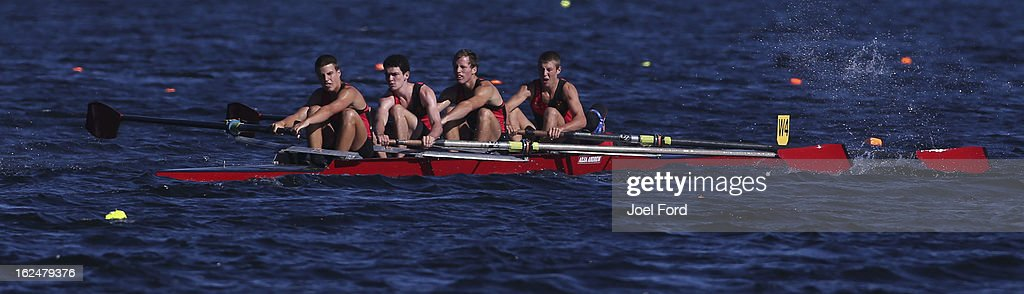 Lachlan Foote, Matthew Thompson, Jack Curphey, Marcus Bolli and cox Hayden Shaw of Hamilton Boys High compete in the boys under-18 lightweight coxed four final during the New Zealand Junior Rowing Regatta on February 24, 2013 in Auckland, New Zealand.