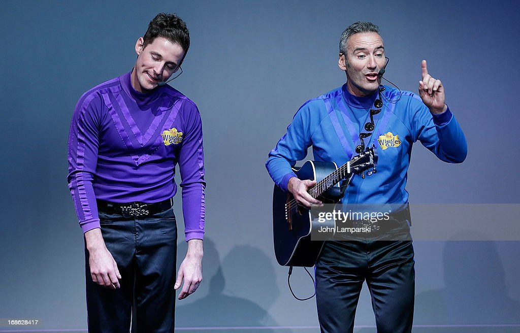 Lachlan Gillespie and Anthony Field of the Wiggles perform at the Apple Store Soho on May 12, 2013 in New York City.
