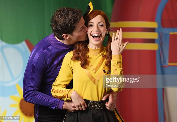 Lachlan Gillespie and Emma Watkins from children's band 'The Wiggles' who recently got engaged poses between shows at the Golden Grove Arts Centre on...