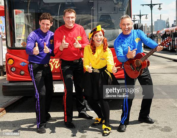 Lachlan Gillespie Simon Pryce Emma Watkins and Anthony Field of The Wiggles attend Meet The Wiggles at Pier 78 on August 16 2013 in New York City
