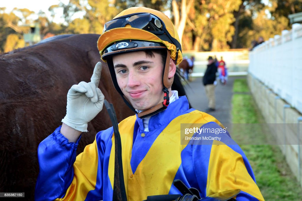 Lachlan King after winning the Parker Bros. Earthmoving 0 - 58 Handicap at Seymour Racecourse on August 19, 2017 in Seymour, Australia.
